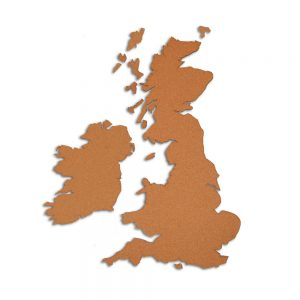 Country Map Great Britain and Ireland - Wall map made of cork