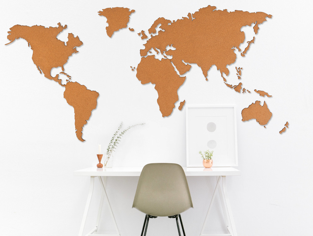 World Map Out Of Cork Modern Wall Decoration From Berlin Sandpipery