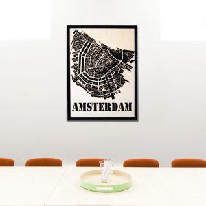 Modernes Amsterdam Wandbild aus Holz - Moderne Wanddekoration aus Berlin