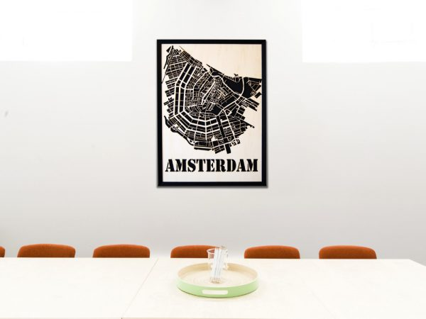 Modern Amsterdam City Map made of wood - SANDPIPERY