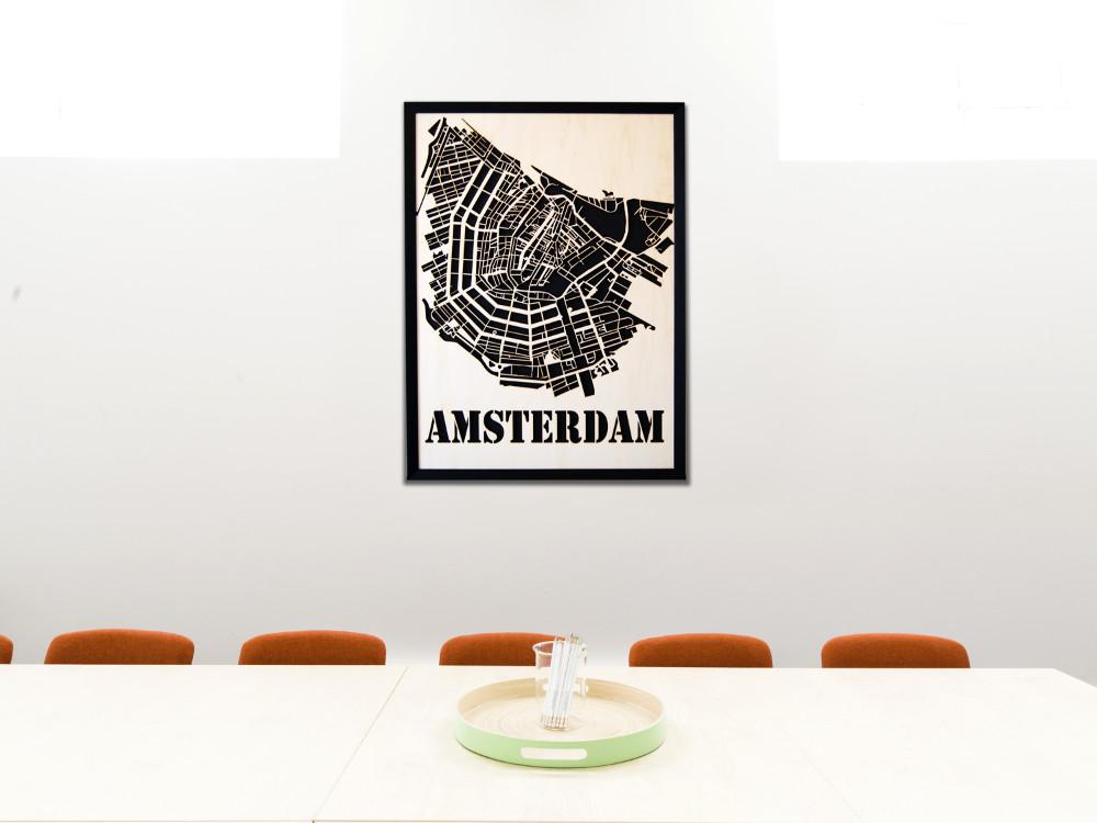 Amsterdam Wandbild aus Holz - Moderne Wanddekoration aus Berlin