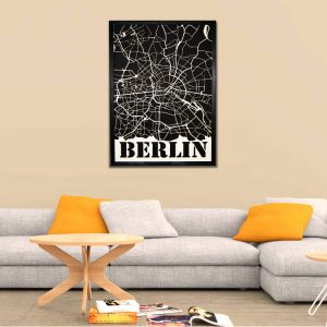Modern Berlin City Map made of wood - SANDPIPERY
