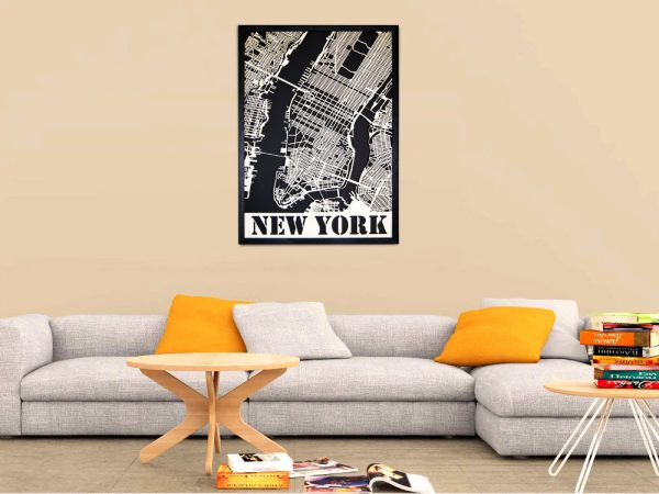 New York City Map made of wood - SANDPIPERY